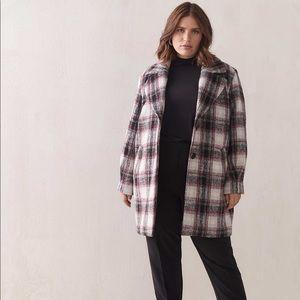 Plaid Wool Blend Coat